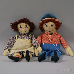 Pair of Handmade Raggedy Ann and Andy Cloth Dolls