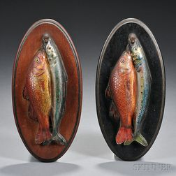 Two Molded and Reverse-painted Fish Plaques