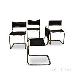 Four Breuer-style Chrome and Black Leather Chairs