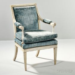 Louis XVI-style Painted Fauteuil