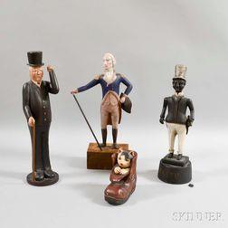 Four Contemporary Folk Art Carved Figures