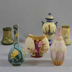 Six Royal Bonn Mostly Floral-decorated Ceramic Vases