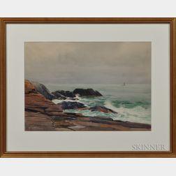Sears Gallagher (American, 1869-1955)      Calm Sea on a Rocky Shore