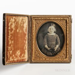 Sixth-plate Tinted Daguerreotype of a Seated Little Girl