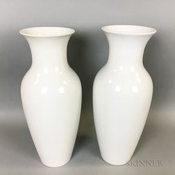 Pair of Continental White Porcelain Vases