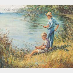 John Falter (American, 1910-1982)      Two Boys Fishing