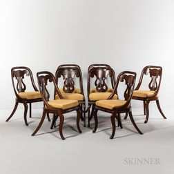 Set of Eight Mahogany Veneer Lyre-back Dining Chairs