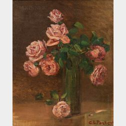 Charles Ethan Porter (American, 1847-1923)      Still Life with Pink Roses