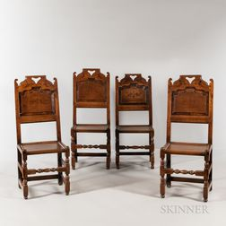Set of Four Jacobean-style Inlaid Oak Side Chairs