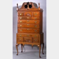 Queen Anne Cherry Carved Scroll-top High Chest of Drawers