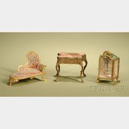 Three Miniature Gilt-metal Furniture Pieces
