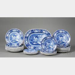 "Twenty-nine Staffordshire Pottery ""Sheltered Peasants"" Tableware Items"