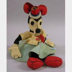 Blanket-stitched Felt Cloth Minnie Mouse Doll
