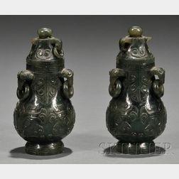 Pair of Jade Covered Jars
