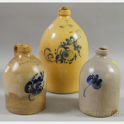Three Cobalt Floral-decorated Stoneware Jugs