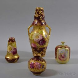 Four Royal Bonn Floral-decorated Vases