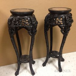 Pair of Carved Marble-top Stands