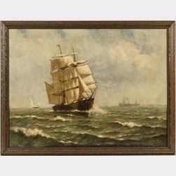 Ferdinand Stoopendaal (New York/Sweden, 1849-1930)       Portrait of an American Sailing Vessel