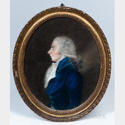 James Sharples Sr. (Pennsylvania/New York, 1751-1811)    Profile Portrait of a Man in a Blue Coat