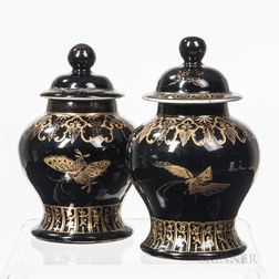 Near Pair of Gilt-decorated Mirror Black-glazed Ginger Jars and Covers