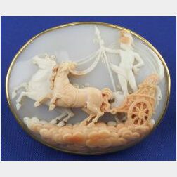 Antique Shell Cameo Pendant Brooch