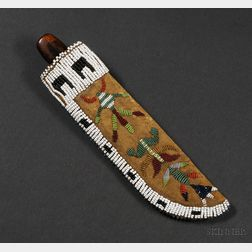 Eastern Plains Beaded Buffalo Hide Knife Sheath