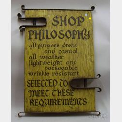 Arts & Crafts Style Painted Hewn Wooden Retail Philosophy Sign