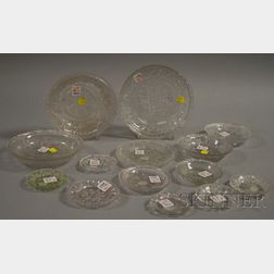 Fourteen Colorless Pressed Lacy Pattern Sandwich Glass Plates and Bowls