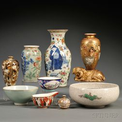 Nine Porcelain and Enamel Items