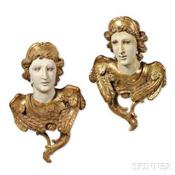 Pair of Baroque-style Carved Giltwood Angel Architectural Elements