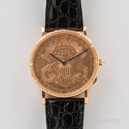 Limited Edition 25th Anniversary Corum 18kt Gold Coin Wristwatch with Box and Certificate