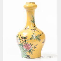 Yellow-ground Famille Rose Vase