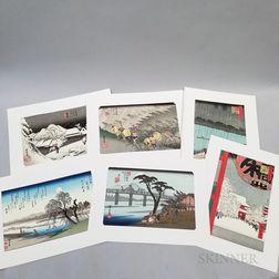 Six Hiroshige Woodblock Prints