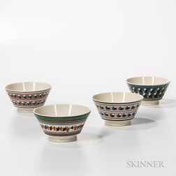 Four Don Carpentier Slip-decorated London-form Bowls with Cat's-eye Design