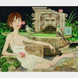 Philippe Henri Noyer (French, 1917-1985)    Lot of Two Figure Studies:  La Masque Vert