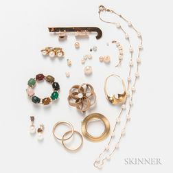 Group of Gold and Costume Jewelry
