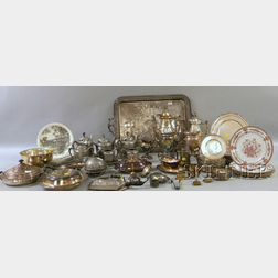 Large Group of  Silver Plated Tableware and Other Items