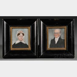 Pair of Portrait Miniatures of Smith Weed and His Wife Sarah