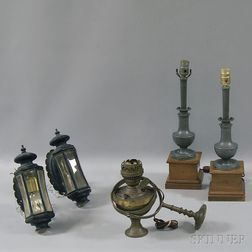 Pair of Coach Lamps, Pair of Pewter Lamps, and a Brass Gimbaled Ship's Oil Lamp