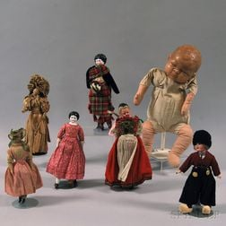 Seven Wax, Bisque, China, and Straw Dolls