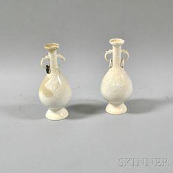 Pair of Cream-glazed Ritual Vases