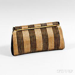 Judith Leiber Brown Woven Evening Bag