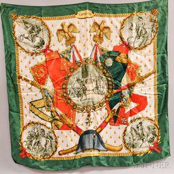 "Hermes ""Napoleon"" Green Silk Scarf"