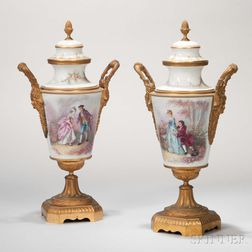 Pair of Sevres-style Porcelain and Gilt-bronze Urns