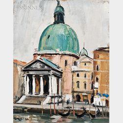 Takanori Oguiss (Japanese, 1901-1986)      Venezia, Chiesa San Simeon Piccolo