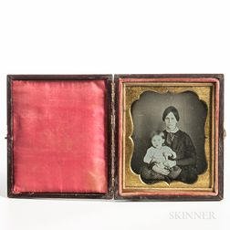 Sixth-plate Daguerreotype of a Seated Mother and Child
