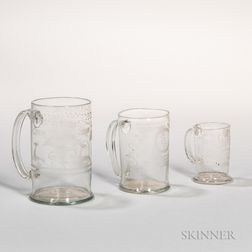 Three Graduated Blown and Copper Wheel-engraved Glass Mugs