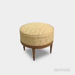 French-style Upholstered Walnut Ottoman