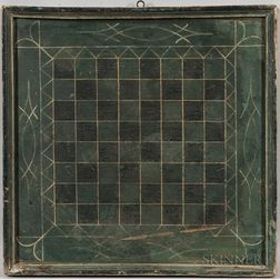 Green- and Black-painted Checkers Game Board