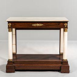 Classical Rosewood Veneer and Marble Ormolu-mounted Pier Table